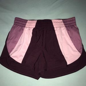 Maroon and Pink Running Shorts Medium